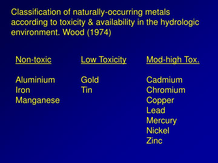 Classification of naturally-occurring metals according to toxicity & availability in the hydrologic ...