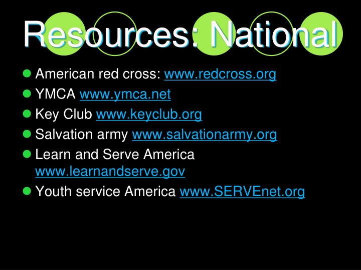 Resources: National