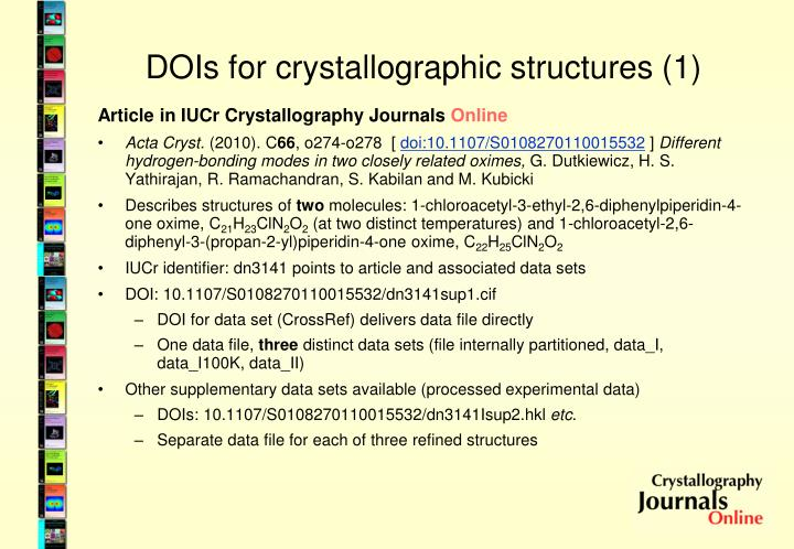 DOIs for crystallographic structures (1)