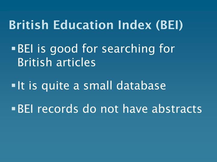 British Education Index (BEI)