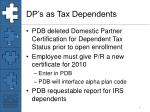 dp s as tax dependents