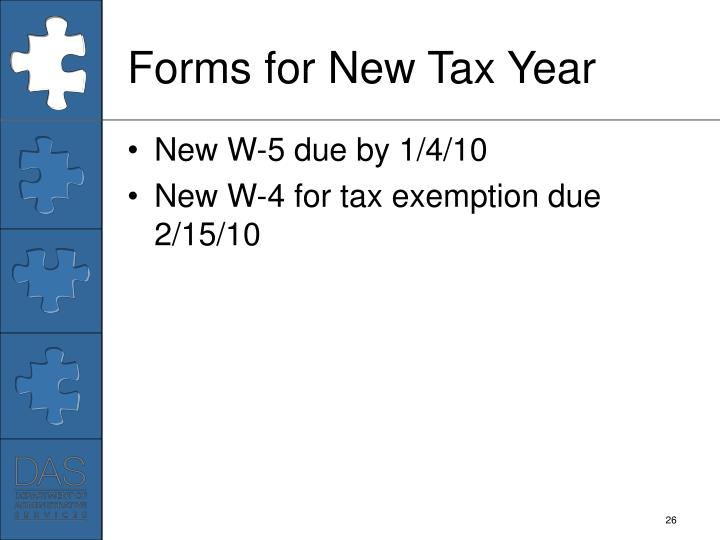 Forms for New Tax Year