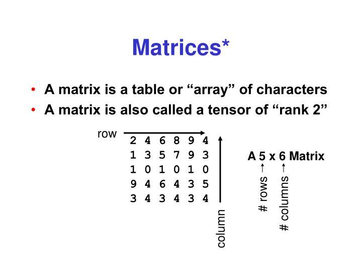 Matrices*