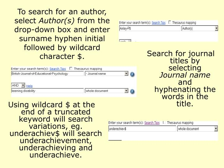 To search for an author, select