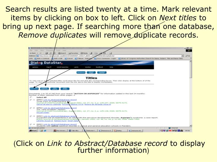 Search results are listed twenty at a time. Mark relevant items by clicking on box to left. Click on