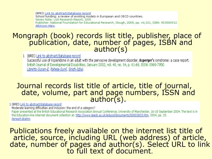 Mongraph (book) records list title, publisher, place of publication, date, number of pages, ISBN and author(s)
