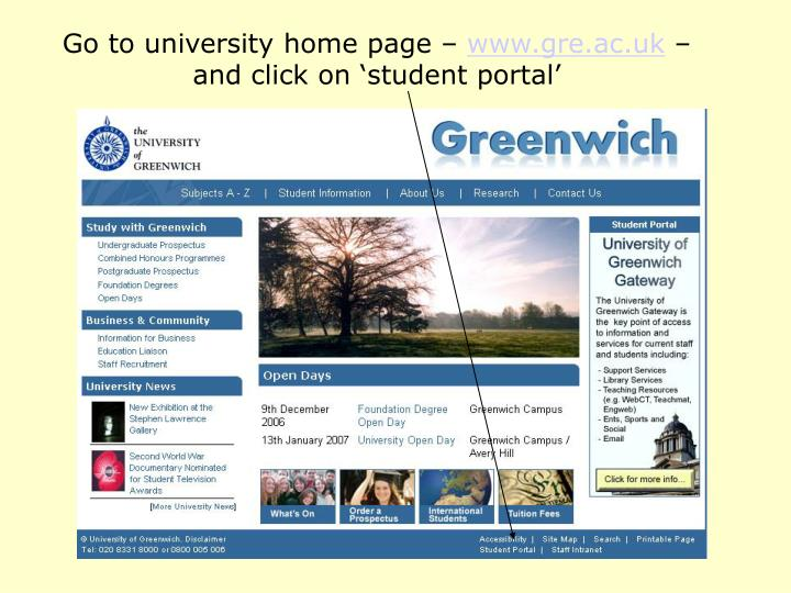 Go to university home page –
