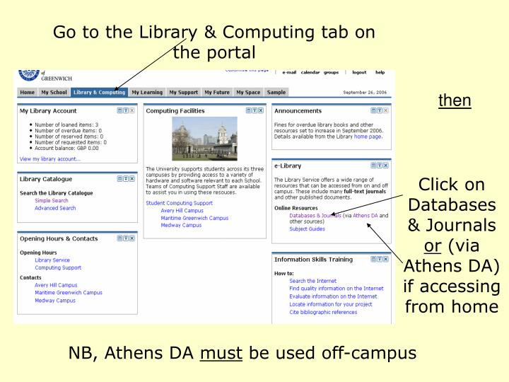 Go to the Library & Computing tab on the portal