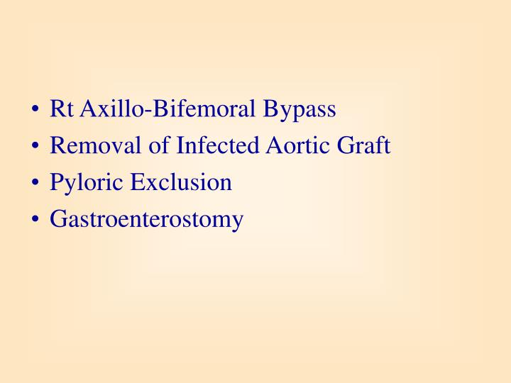 Rt Axillo-Bifemoral Bypass
