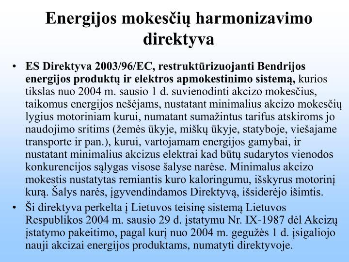Energijos mokesčių harmonizavimo direktyva