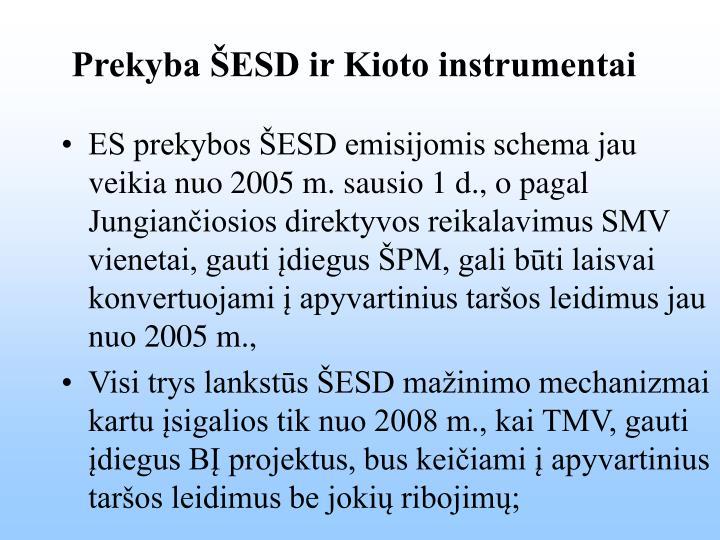 Prekyba ŠESD ir Kioto instrumentai