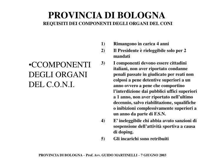 CCOMPONENTI DEGLI ORGANI DEL C.O.N.I.
