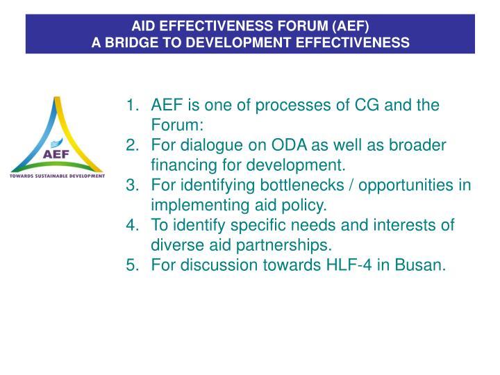 AID EFFECTIVENESS FORUM (AEF)