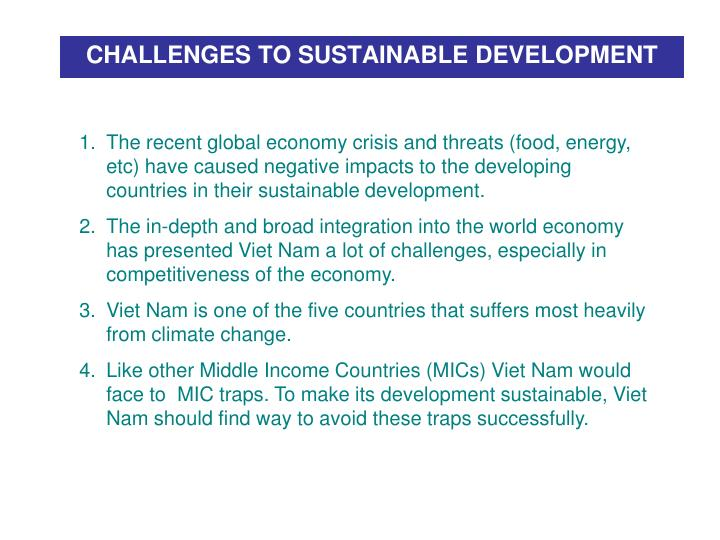 CHALLENGES TO SUSTAINABLE DEVELOPMENT