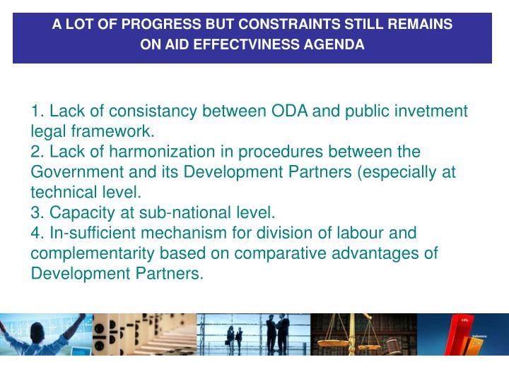 A LOT OF PROGRESS BUT CONSTRAINTS STILL REMAINS