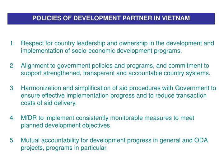 POLICIES OF DEVELOPMENT PARTNER IN VIETNAM