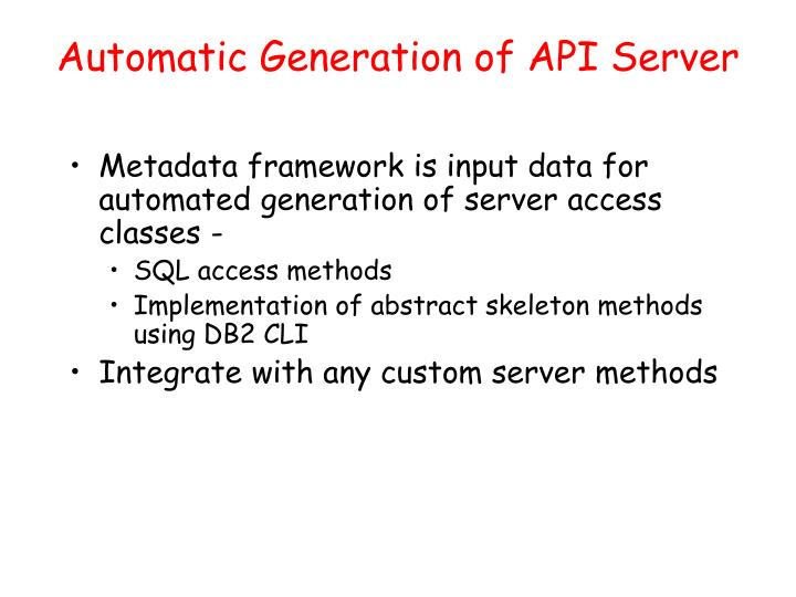 Automatic Generation of API Server