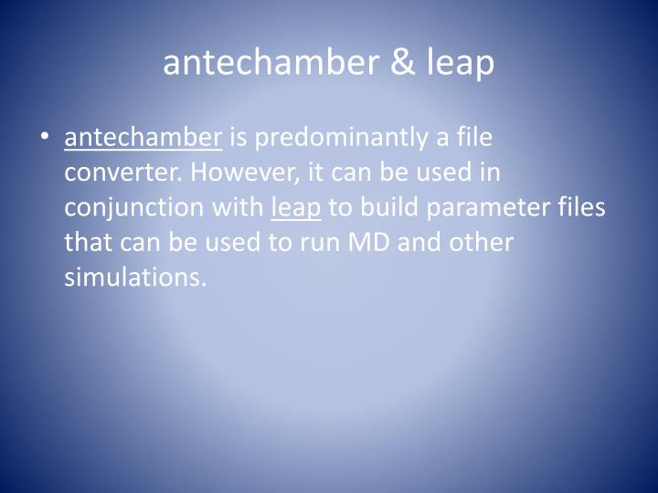 antechamber & leap
