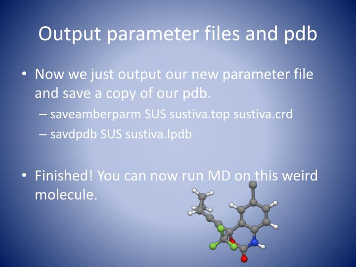 Output parameter files and pdb