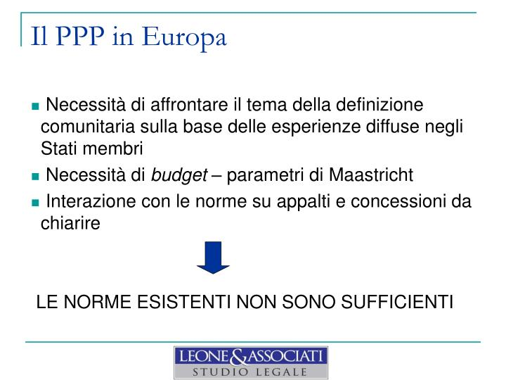 Il PPP in Europa