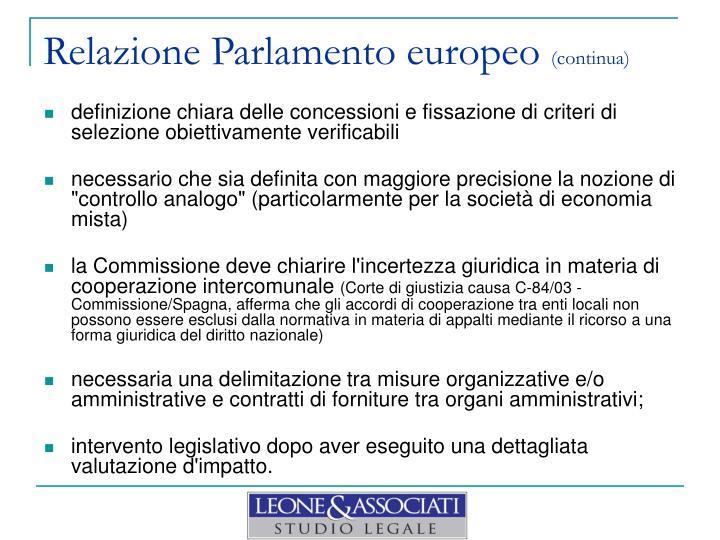 Relazione Parlamento europeo