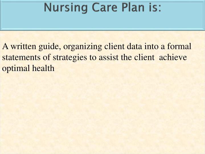 Nursing Care Plan is: