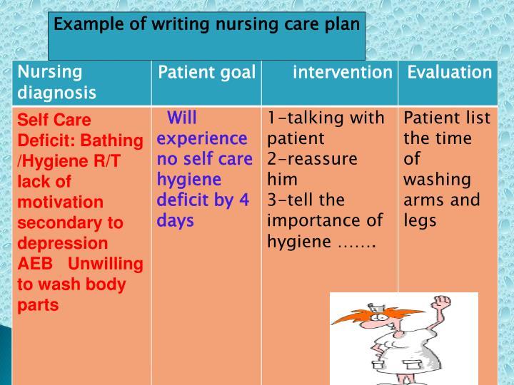 Example of writing nursing care plan