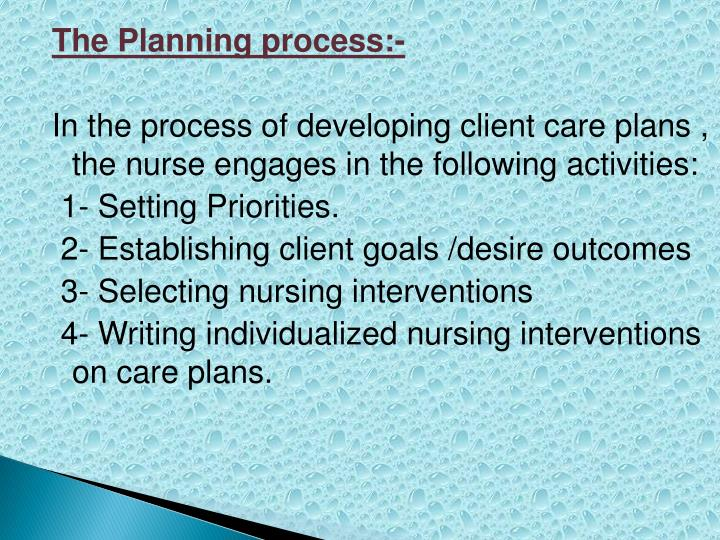 The Planning process:-