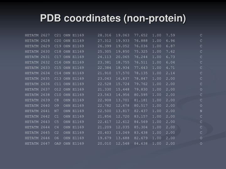 PDB coordinates (non-protein)