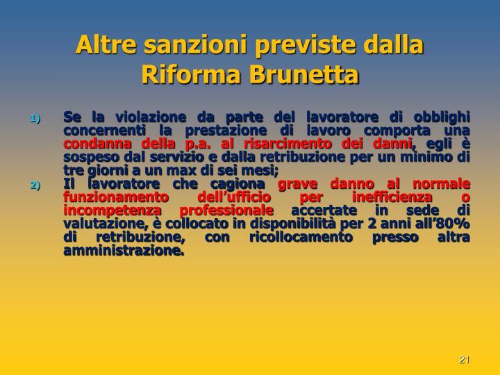 Altre sanzioni previste dalla Riforma Brunetta