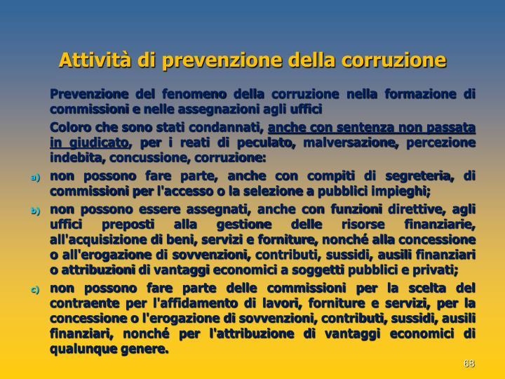 Attività di prevenzione della corruzione