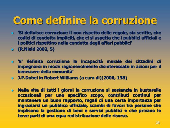 Come definire la corruzione