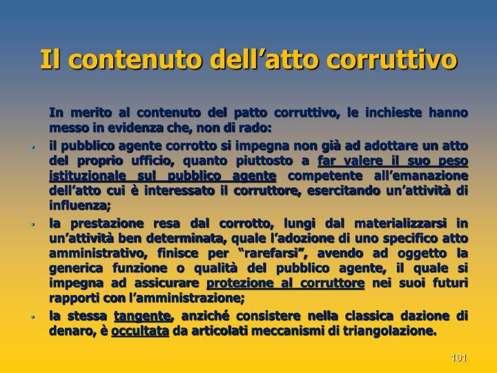 Il contenuto dell'atto corruttivo