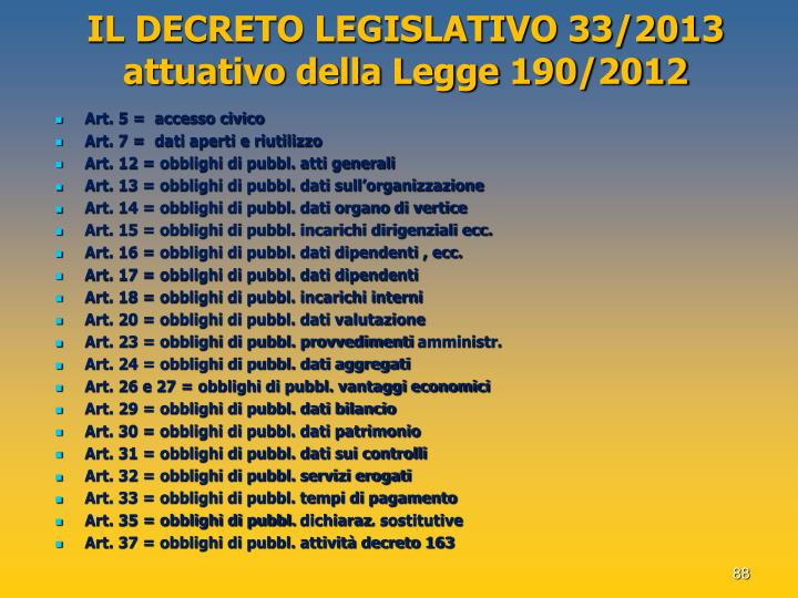 IL DECRETO LEGISLATIVO 33/2013