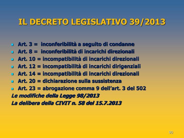 IL DECRETO LEGISLATIVO 39/2013