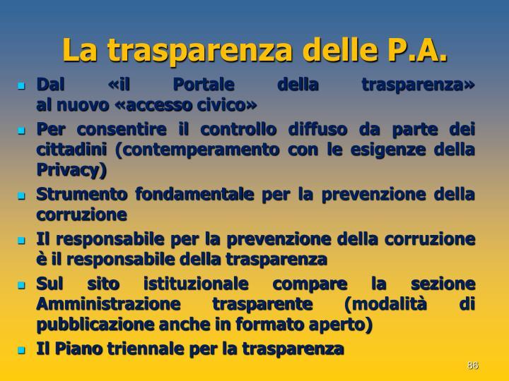 La trasparenza delle P.A.
