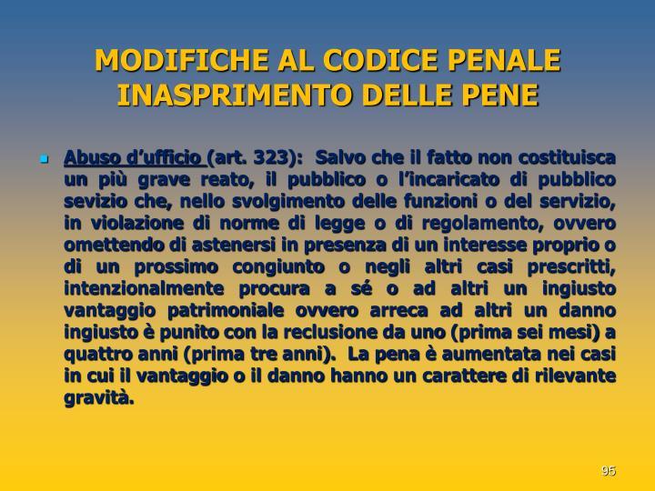 MODIFICHE AL CODICE PENALE