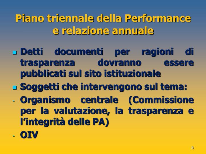 Piano triennale della Performance e relazione annuale