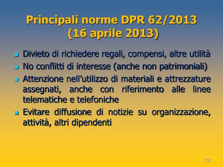 Principali norme DPR 62/2013