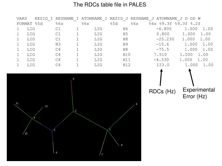 The RDCs table file in PALES