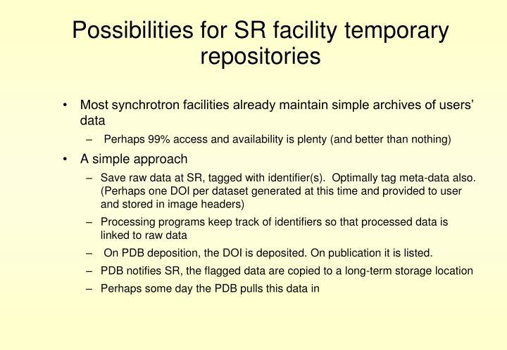 Possibilities for SR facility temporary repositories