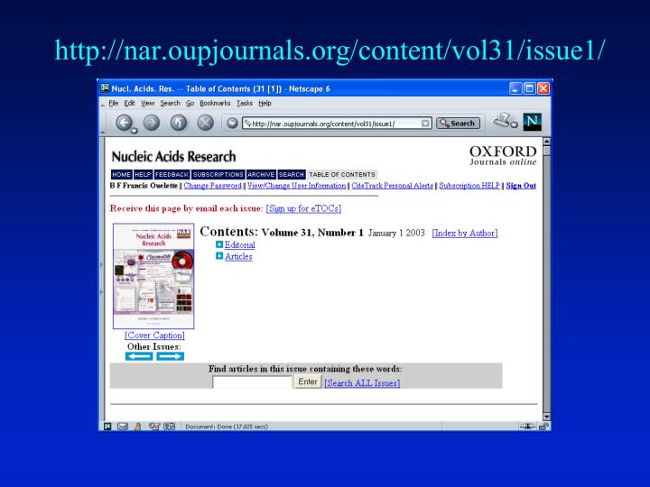 http://nar.oupjournals.org/content/vol31/issue1/
