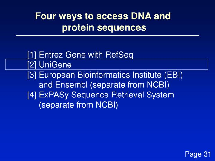 Four ways to access DNA and