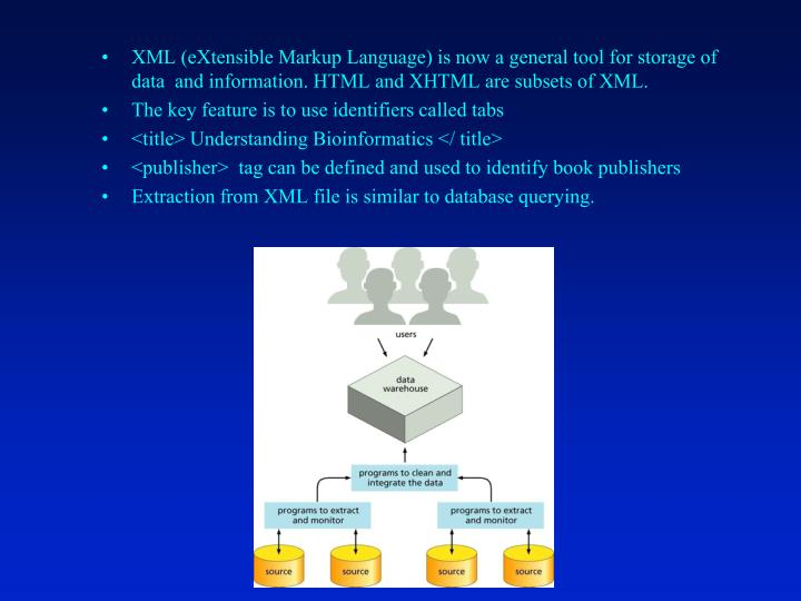 XML (eXtensible Markup Language) is now a general tool for storage of data  and information. HTML and XHTML are subsets of XML.