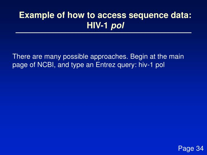Example of how to access sequence data: