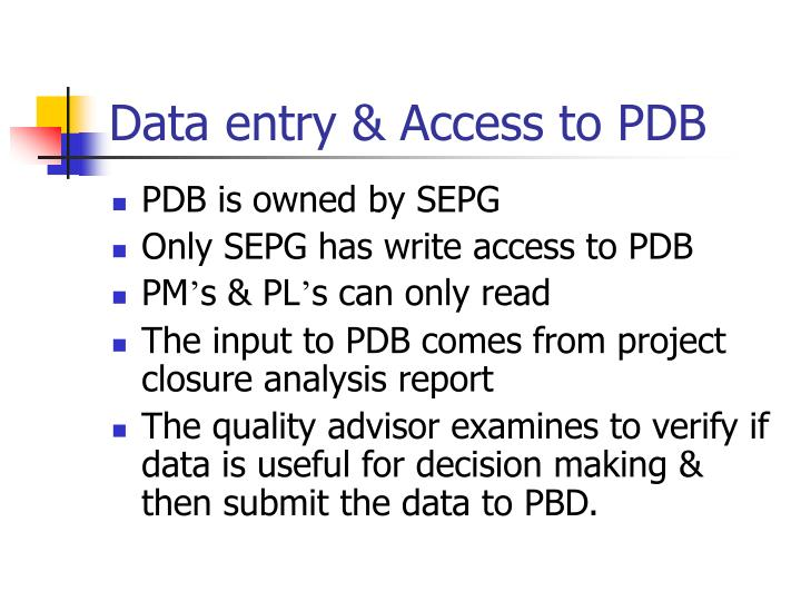 Data entry & Access to PDB