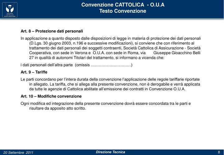 Convenzione CATTOLICA  - O.U.A