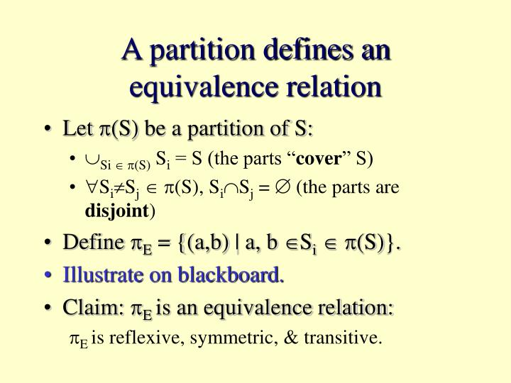 A partition defines an equivalence relation