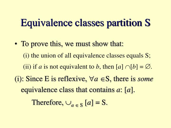 Equivalence classes partition S