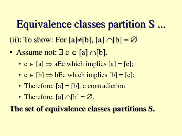 Equivalence classes partition S ...